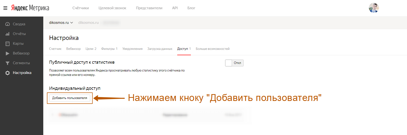 Настройки яндекс метрики вкладка доступ